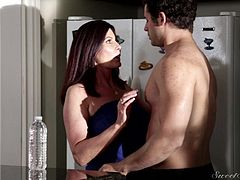 This sexy milf invites the guy next door to come over to have sex. They kiss in the kitchen and then head out into the bedroom where he can lick her nipples. Where will the action go next? The milf has never had sex this good in her life.
