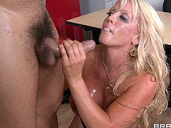 Huge-breasted blonde mom Alura Jenson lets Ramon lick cream off her nipples. Then she gives a blowjob to the dude and they have anal sex in the reverse cowgirl position and doggy style.