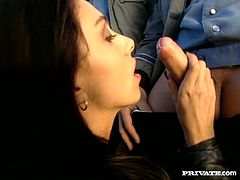Amazing long-haired brunette Mercedes is getting naughty with three horny police men on the road. She pleases the dudes with a blowjob and gets her snatch drilled from behind.