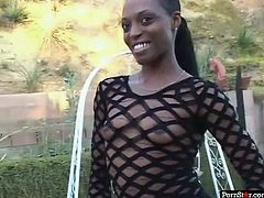 This chocolate whore can hypnotize any man with her nicely shaped booty. This cock crazed slut knows just how good her lover's sperm tastes. She sucks his throbbing dick with unbridled passion.