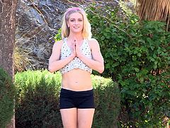 Naked yoga in the garden with the gorgeous blonde teen Bella