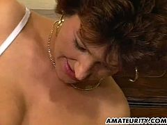 This milf has a particularly sexy body. She has fun riding a cock, but, at some point, another dude shows up. He uses her mouth and cums inside it as well.