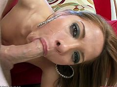 Naughty wench Evilyn Fierce gives her lover one hell of a blowjob