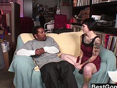 Checkout this brunette babe Sparky Sin Claire, taking on a fat big black cock in her tight pussy. This kinky and tattooed slut loves new experiences and a massive black cock sends her in a lusty frenzy that can only end-up in mind-blowing climaxes.
