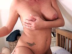 One voluptuous MILF with gorgeous booty and big natural D cups Heidi Vincent seduces yet another cocky stud. Mommy gives blowjob and sensual prostate massage to her boy. Heidi gets her delicious pussy licked before riding her boy in cowgirl pose.