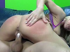 Chesty blonde Christie Stevens rides her lover's dick like a cowgirl