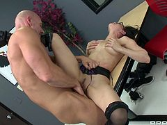 Sizzling brunette milf Cytherea is having fun with Johnny Sins in an office. Cytherea drives the dude crazy with a blowjob and titjob combo and they have sex in the missionary position on a desk.