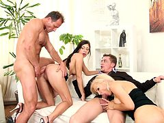 All these appealing beauties are amazed by how good it feels to hard fuck on the couch in superb group scene