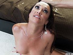 Brunette milf Michelle Lay and Keiran Lee are having a good time together. Michelle gives a blowjob to Keiran and takes a hot ride on his schlong afterwards.