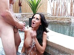 Perfect bodied MILF Ava Addams with long black hair and adorable huge tits seduces pool boy Tyler Nixon and enjoys his cock in her wet vagina in jacuzzi after some dick sucking and titty fucking.