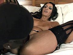 Hussy jade with huge fake boobs gets naughty in interracial porn video. She gets her snatch polished before sucking BBC like crazy slut.