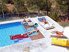 Exciting lesbo babes pool play