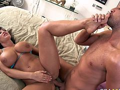 Attractive busty dark haired babe Lisa Ann gets drilled