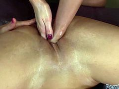 That girl is such a slut that she asks her best friend to insert both of her hands into her wet vagina. What a filthy whore!