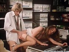 At first two colleagues were supposed to use the copy machine and then the third babe joined them. By that time, she had already taken his cock from behind.