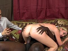 Big black cock deep penetrates wife's tight cunt while hubby is watching and hears how she screams