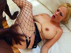 Hardcore porn video featuring blonde mature hooker. She is wearing fishnet stockings while getting drilled deep up her butt hole in a missionary position. Then she takes big dick doggy style.