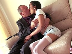 The heat is on for these two as they exchange pleasantries in the living room. Alyssa Divine as hot as she is seduced her senior begging him to fuck her yummy petite body.