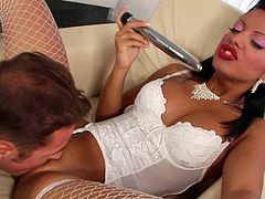 Watch the horny Black masturbate with a dildo before she's eaten out and fucked by this guy as she wears fishnet stockings.