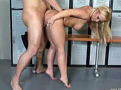 A fuckin' whore sucks on this dude's cock in the locker room and then the fucker fucks her hard in the motherfuckin' gash, check it out!