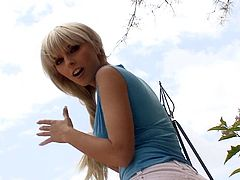 Get a load of this breath taking solo scene where the gorgeous blonde Stela masturbates outdoors with a dildo on a hot summer day.