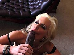 Milfy blonde bombshell Phoenix Marie with bubble butt shows her love for huge black dick. Lexington Steeles thick cock is really big one. She sucks his tool and gets doggystyled from your point of view.