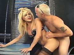 Sex appeal blonde lady boy jerks off her cock while getting anal hole fucked missionary style. She loves the way hot tempered guy penetrates her rectum.