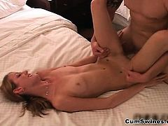 Sexy blonde babe goes crazy getting her part1