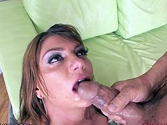 Sizzling hot nympho Cassandra Nix has the mouth that every guy want to fuck. Horny dude fucks her mouth mercilessly in and out until she gags and spits up on his cock. Then she gets down on her knees and gives him some nice deepthroat.