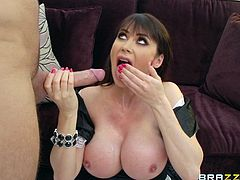 Big-breasted milf Eva Karera, wearing a maid uniform, is having fun with Keiran Lee indoors. She gives a deepthroat blowjob to the man and fucks him in the cowgirl and other positions.