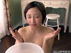 Gorgeous Japanese thrilled by the huge cocks in a gang bang and gives a blowjob as she gives two cocks a hand job till they cum on her facial