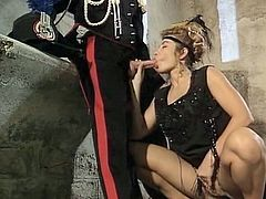 Curly haired chubby chick in short black dress posed on haunches to please her hungry fellow with stout deep throat on duty. Have a look at that dirty oral sex in The Classic Porn sex clip!