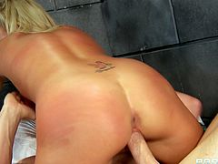 Salacious brunette Jessica Nyx is having fun with naughty boy Johnny Sins in prison. She pleases him with a hot blowjob and gets her pussy drilled in the missionary position.