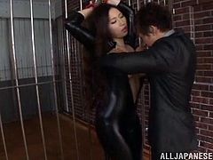 Watch the sexy Sayuki Kanno wears a latex suit before being fucked silly by this guy as you hear her moan.