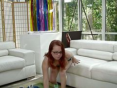 Kinky and amazing red haired bitch with nice body takes off her clothes and eats the dick. Have a look at this slut in My XXX Pass sex video.