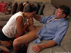 Cock hungry lady boss Rachel Starr is going to make her best employee happy. Elegant lady in black stockings and shoes takes his hard dick in her mouth before she removes her white blouse to show her perfect boobs.