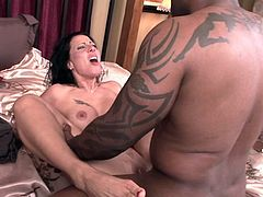 It's about time milf's shaved twat gets ravished by big black cock in interracial porn event