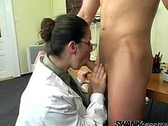 Tiffany Treasures is a military doctor. She examines three nude guys in her office. She decides to have fun. So, Tiffany gives a blowjob to every guy. After that she gets fucked rough and jizzed on her big boobs.