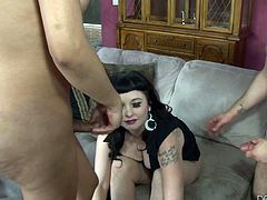 This sexy milf babysitter has a surprise for the parents. She has a cock under that skirt that she wants to show them. The milf lady gets down on her knees and sucks off the tranny and her husband at the same time. There's pussy eating, too.