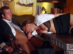 Maddy Oreilly does her bets to turn on her boss. She unbuttons her blosue and pulls out her tits. She bares her juicy ass and finally she takes his beefy cock in her eager mouth. This slutty elegant woman is so hot!