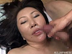 Natural busty Japanese MILF gets a hardcore fuck doggystyle and ends up getting her nasty little mouth filled with hot cum.