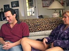 Seductive whore wife finger fucks her hairy pussy and seduces young dude. He dives between her legs and tickles her hairy clit with playful tongue.