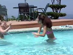 Lesbian Sex City brings you a hell of a free porn video where you can see how these blonde and brunette lesbian teens play by the poolside til they both cum very hard.