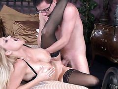 Dane Cross admires breathtakingly sexy Charlee Chases body before she takes his worm in her mouth