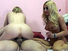 Two sex insane blonde babes enjoy riding big cock in turn. They hop on his long dick and then use vibrator for the best ever orgasmic affect.