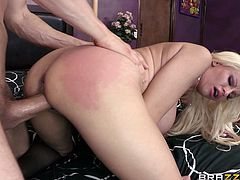Big-breasted blonde Holly Brooks gives a blowjob to Erik Everhard and takes his schlong in her asshole. They have anal sex in the reverse cowgirl and the side-by-side positions.