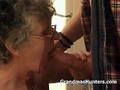Grandmas Hunters brings you a hell of a free porn video where you can see how this kinky and busty grandma sucks cock and gets munched by a younger stud.