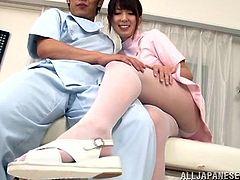 Horny Yui Hatano is a Japanese nurse in a pink uniform and pantyhose. A guy massages Yui's boobs. Then the girl gets her pussy fondled through her panties and pantyhose.