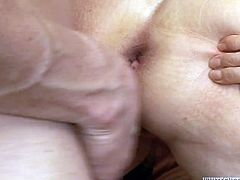 Hussy grannie allows young dude to play with her saggy assets