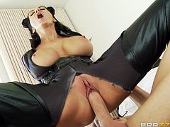 Get excited by watching this brunette maid, with giant tits wearing a sex uniform, while she gets banged by her boss in his wife's bedroom.